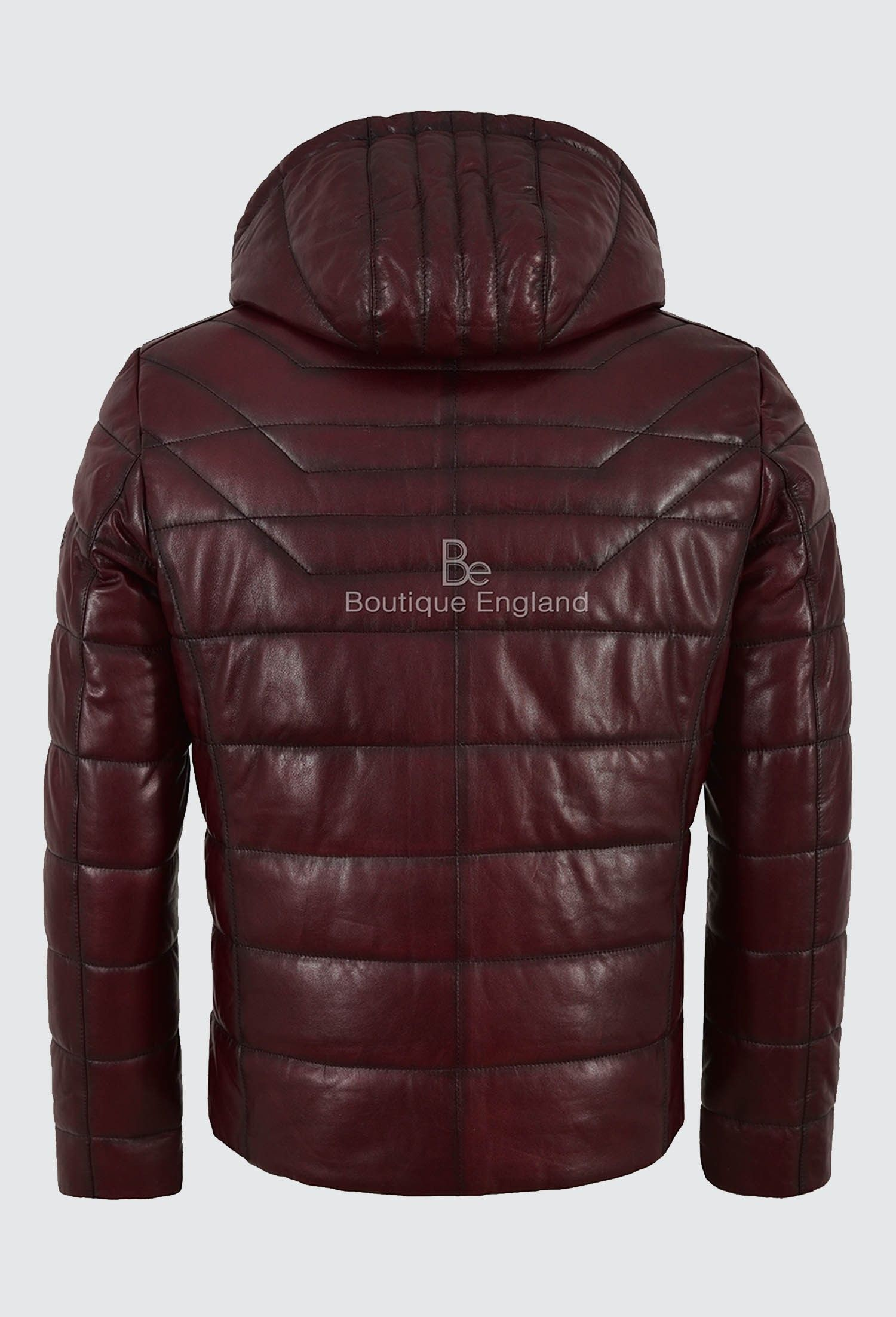Men's Puffer Hooded Lambskin Leather Jacket Cherry Real