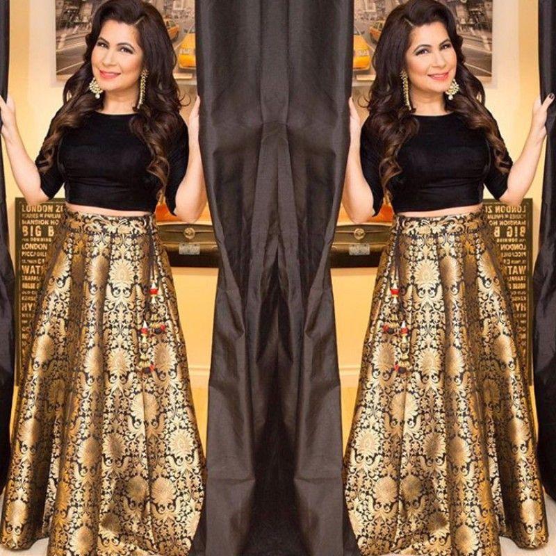 Bollywood Replica - Brocade Pure Silk Black Crop Top Lehenga - VS027    Brocade lehenga, Designer lehenga choli, Brocade dresses
