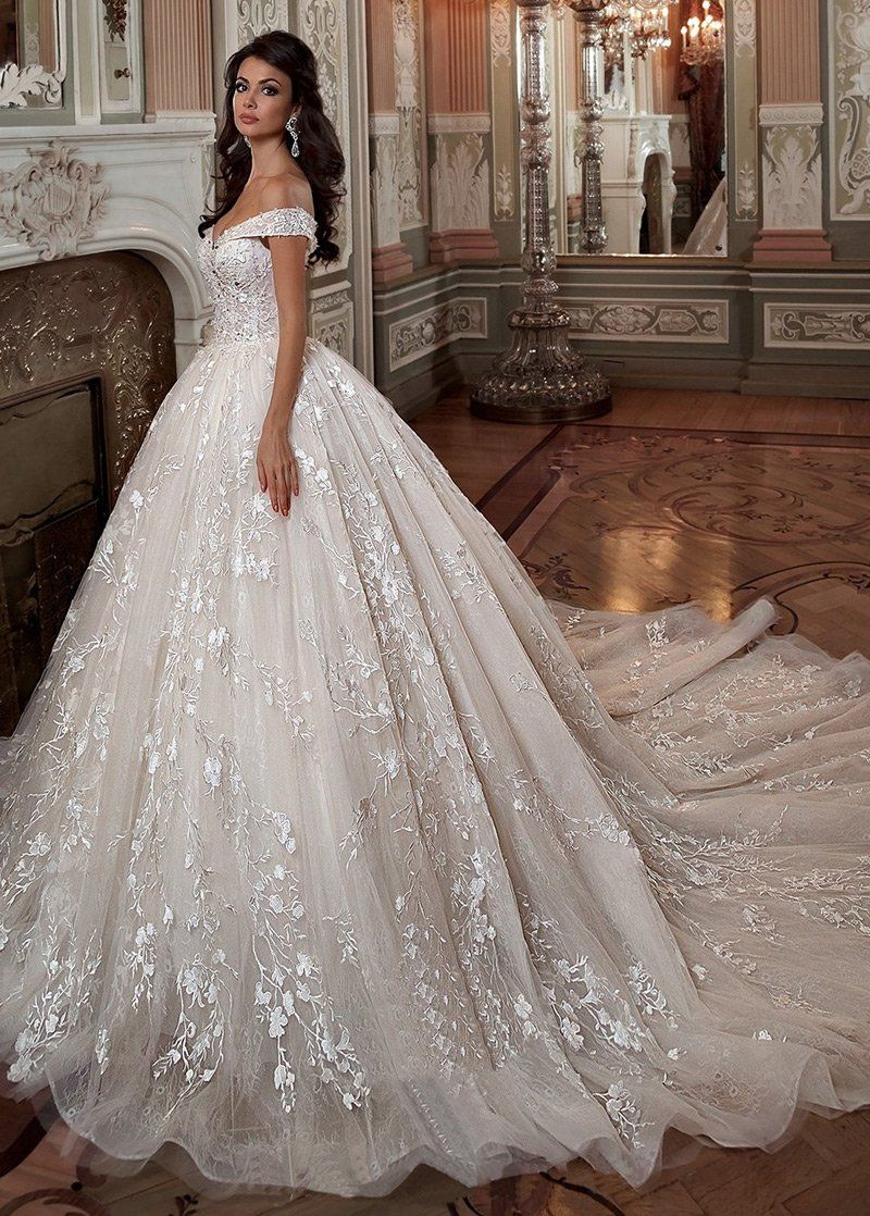Wedding Dresses Ball Gown, Fascinating Tulle & Lace Off-the-shoulder Neckline Ball Gown Wedding Dress With Lace Appliques & Beadings DressilyMe