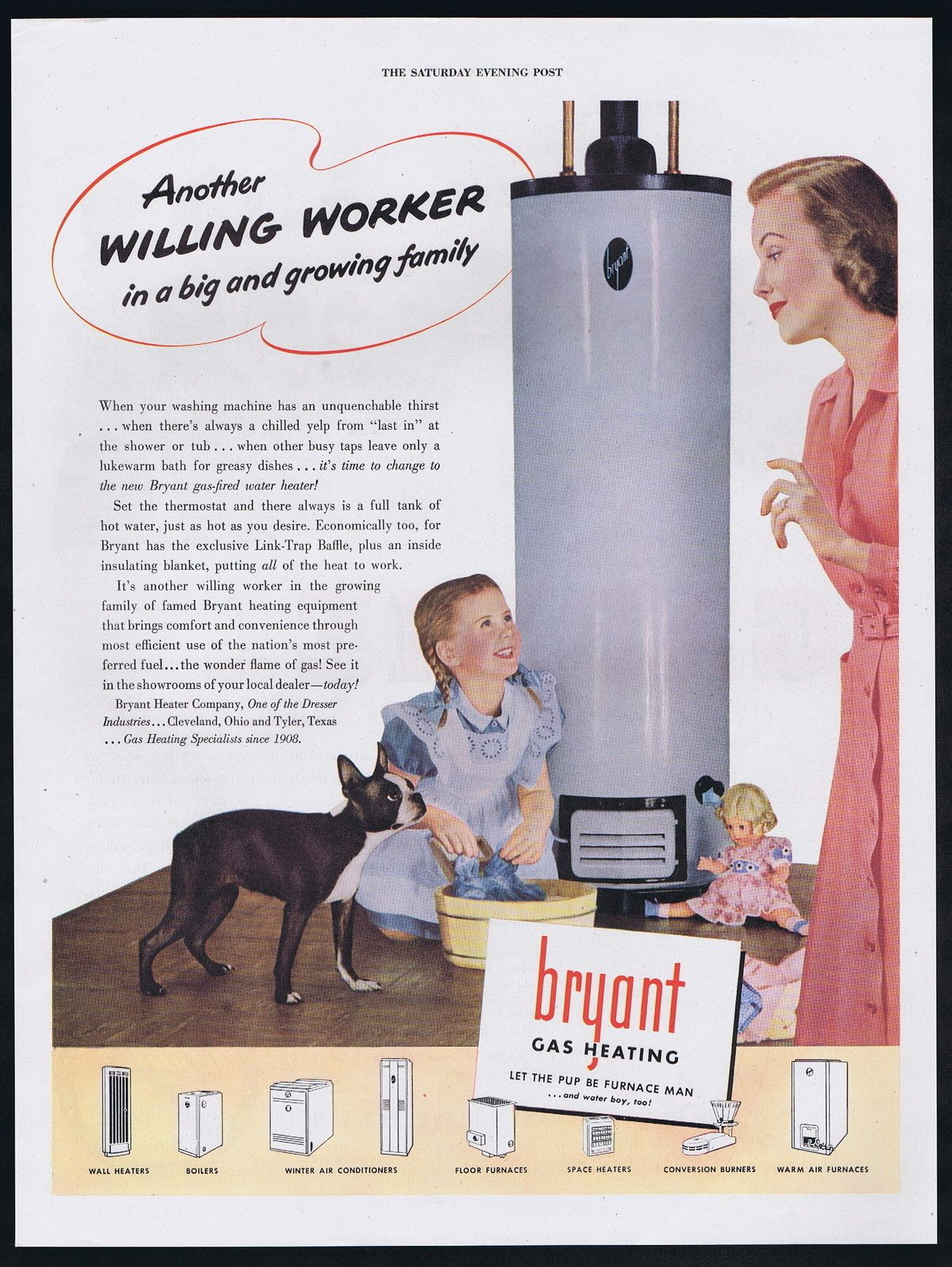 1947 Bryant Water Heater Furnace Cute Boston Terrier Dog Doll