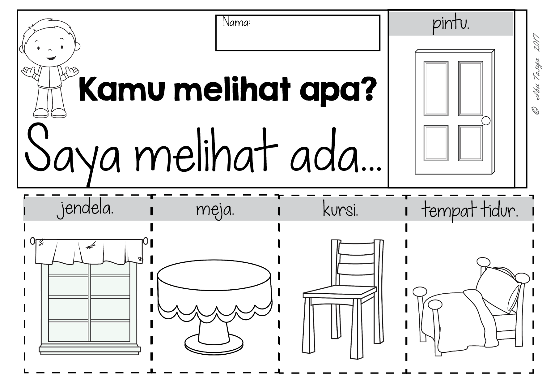 Indonesian Household items teaching worksheets
