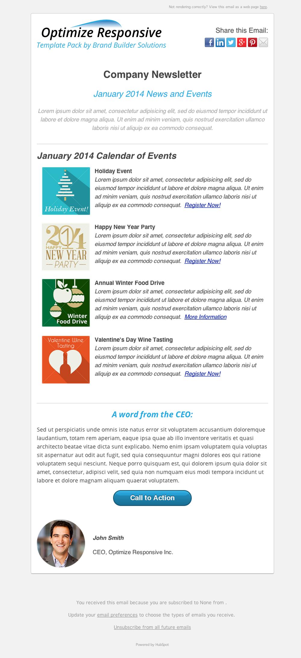 optimize responsive ii events newsletter hubspot templates