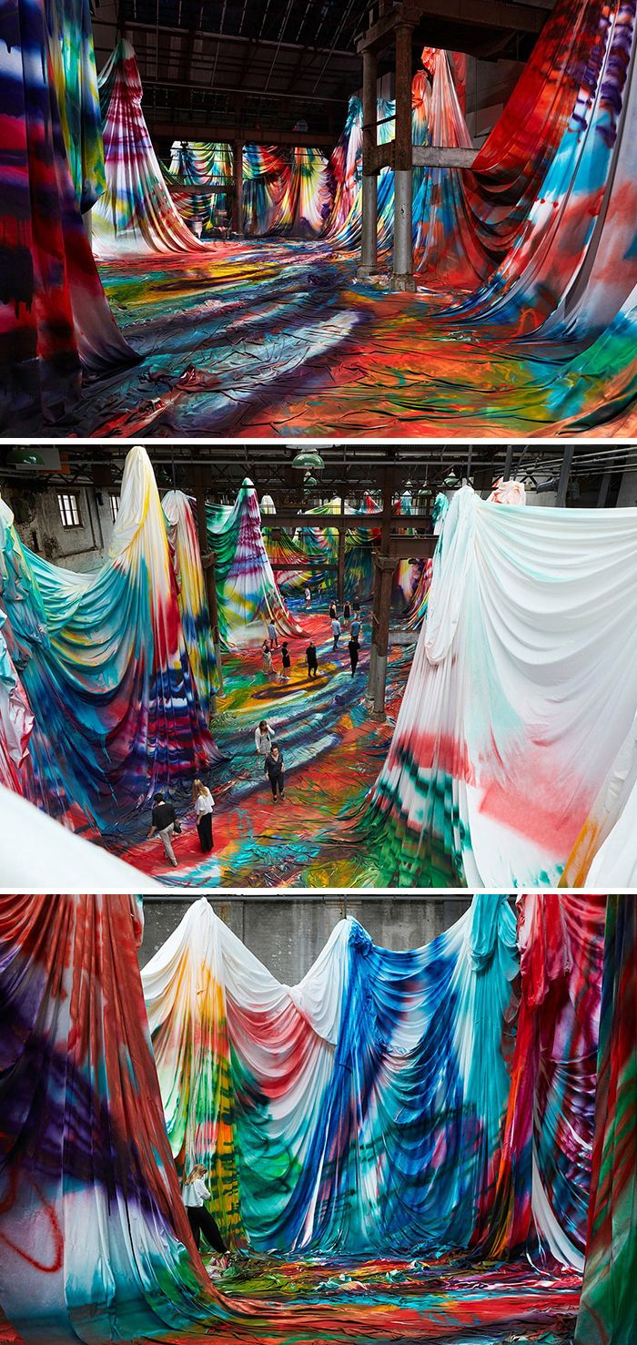Colorful Installation Transforms Warehouse Into Giant Psychedelic Painting You Can Walk In #lightartinstallation