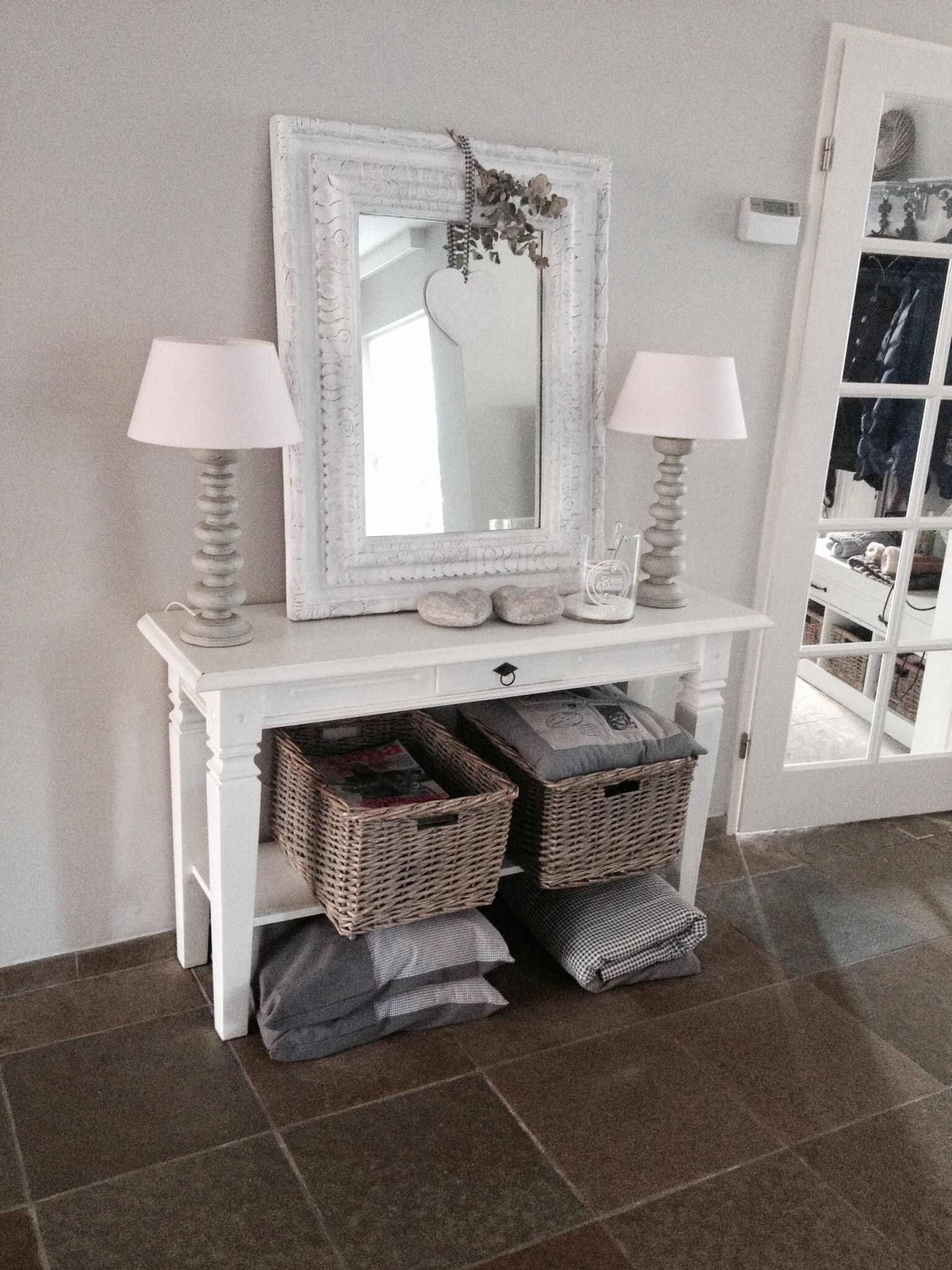 Console tables for hall and living room furniture in grey white
