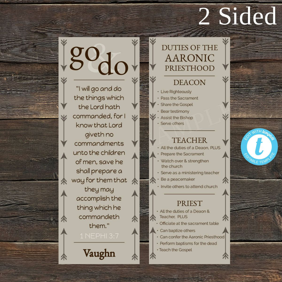 Editable Go And Do Rustic Arrows 2 Sided Bookmark Template Etsy In 2021 Youth Theme Lds Young Priesthood