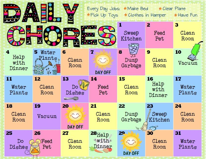 Daily Chore Charts  Free Printables  Kid Stuff