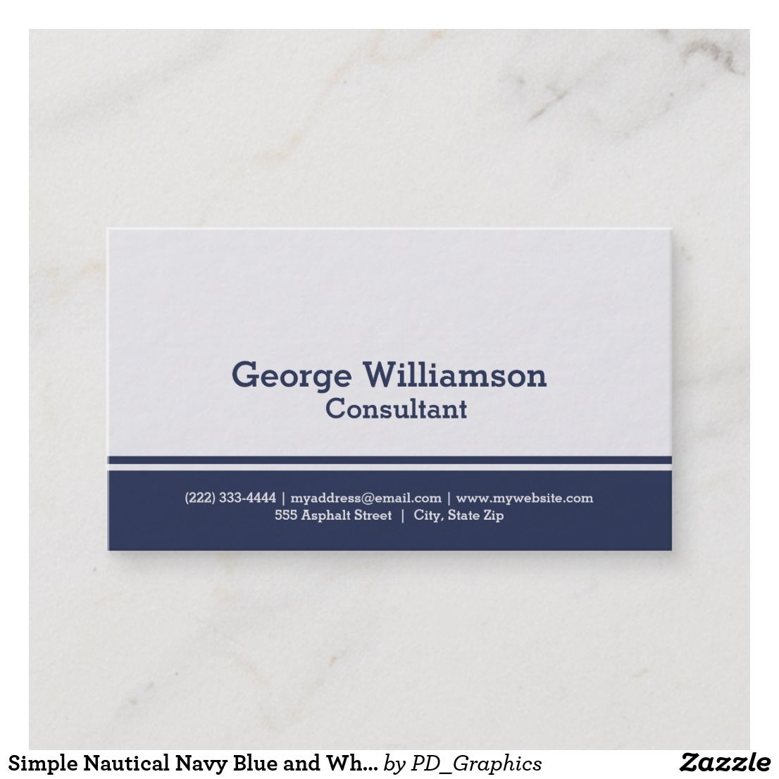 Simple Nautical Navy Blue And White Business Card Business Cards