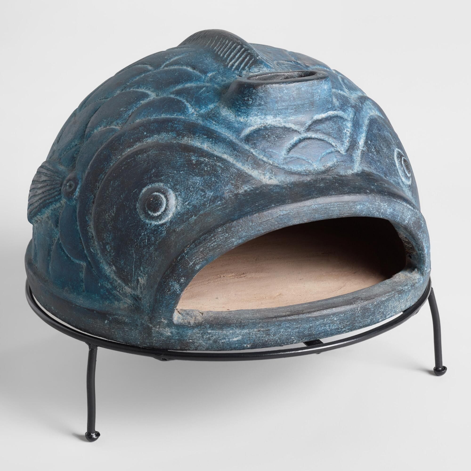 blue fish terracotta pizza oven by world market terracotta pizza