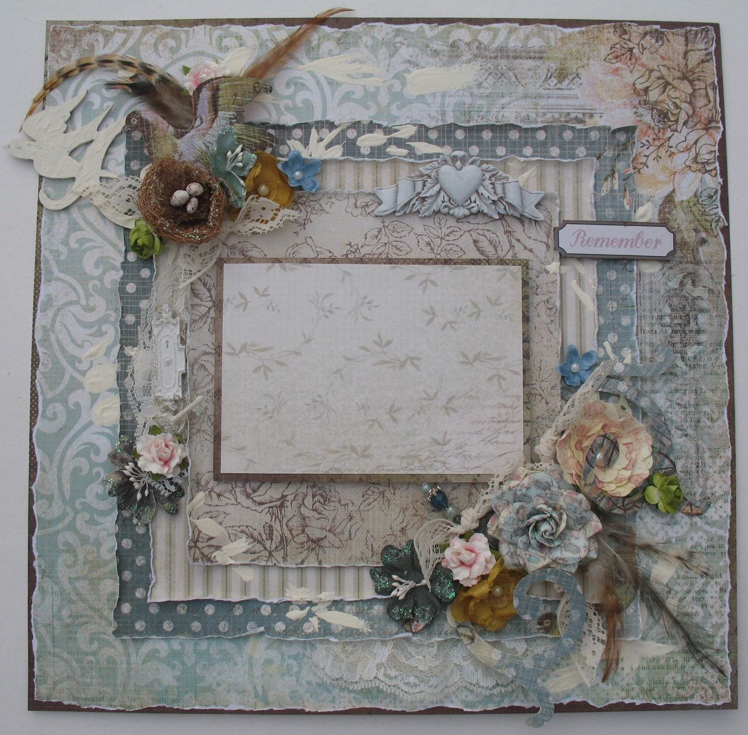 Premade Scrapbook Page 12 x 12, Vintage, Shabby Chic, Nature. via ...