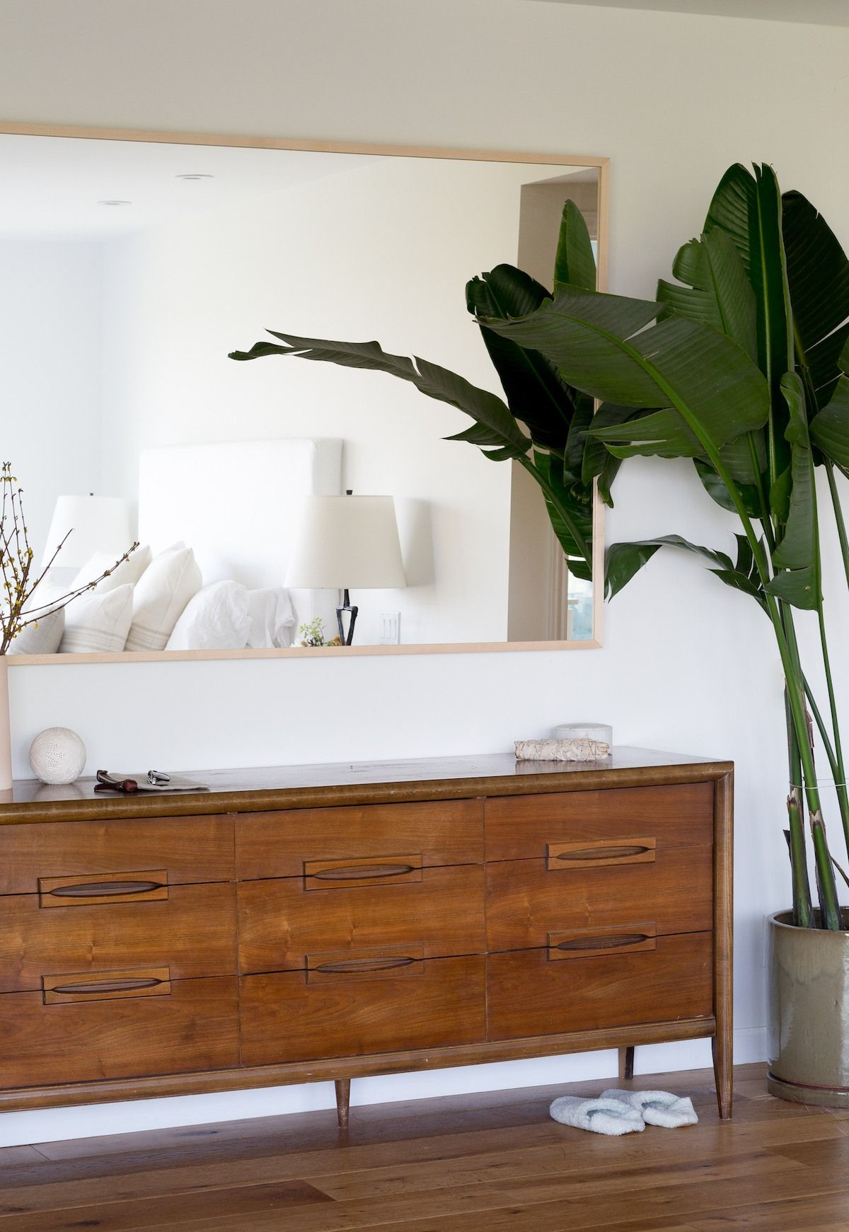 The vintage credenza, used as a dresser, is from Chairish ...