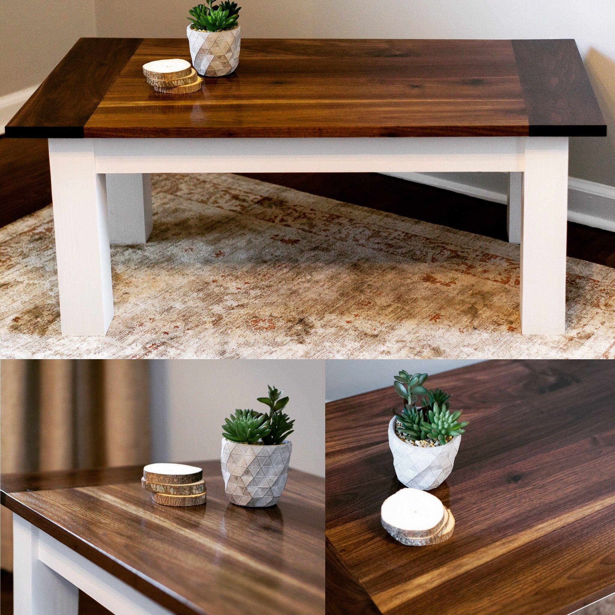 Black Walnut Modern Farmhouse Coffee Table by Black & Tan