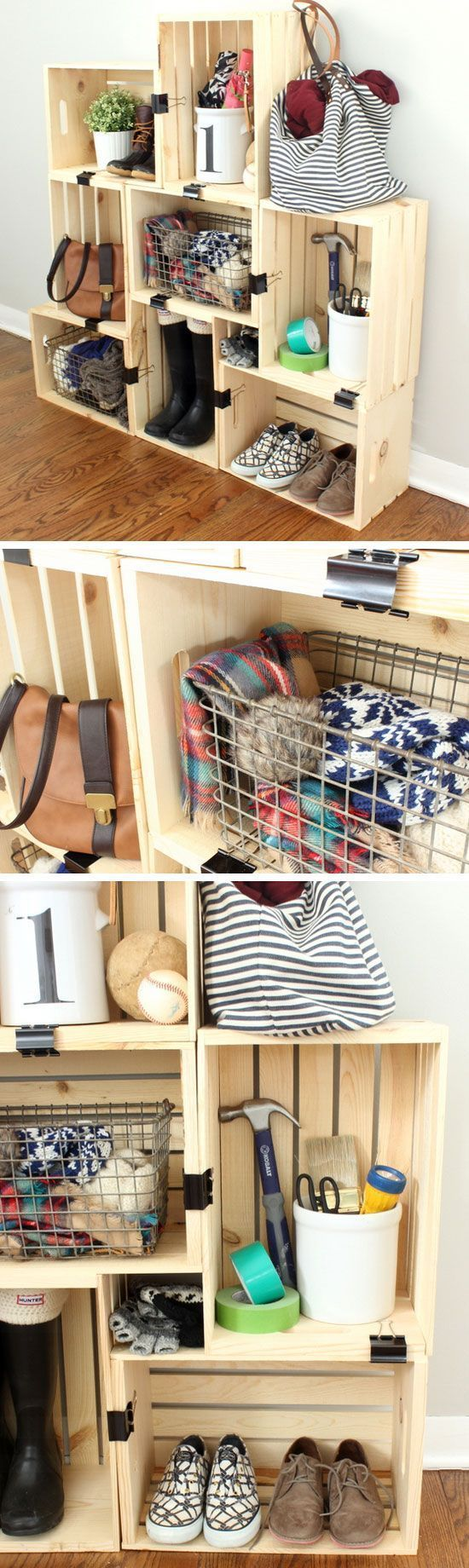 Easy crate storage with binder clips small apartment decorating