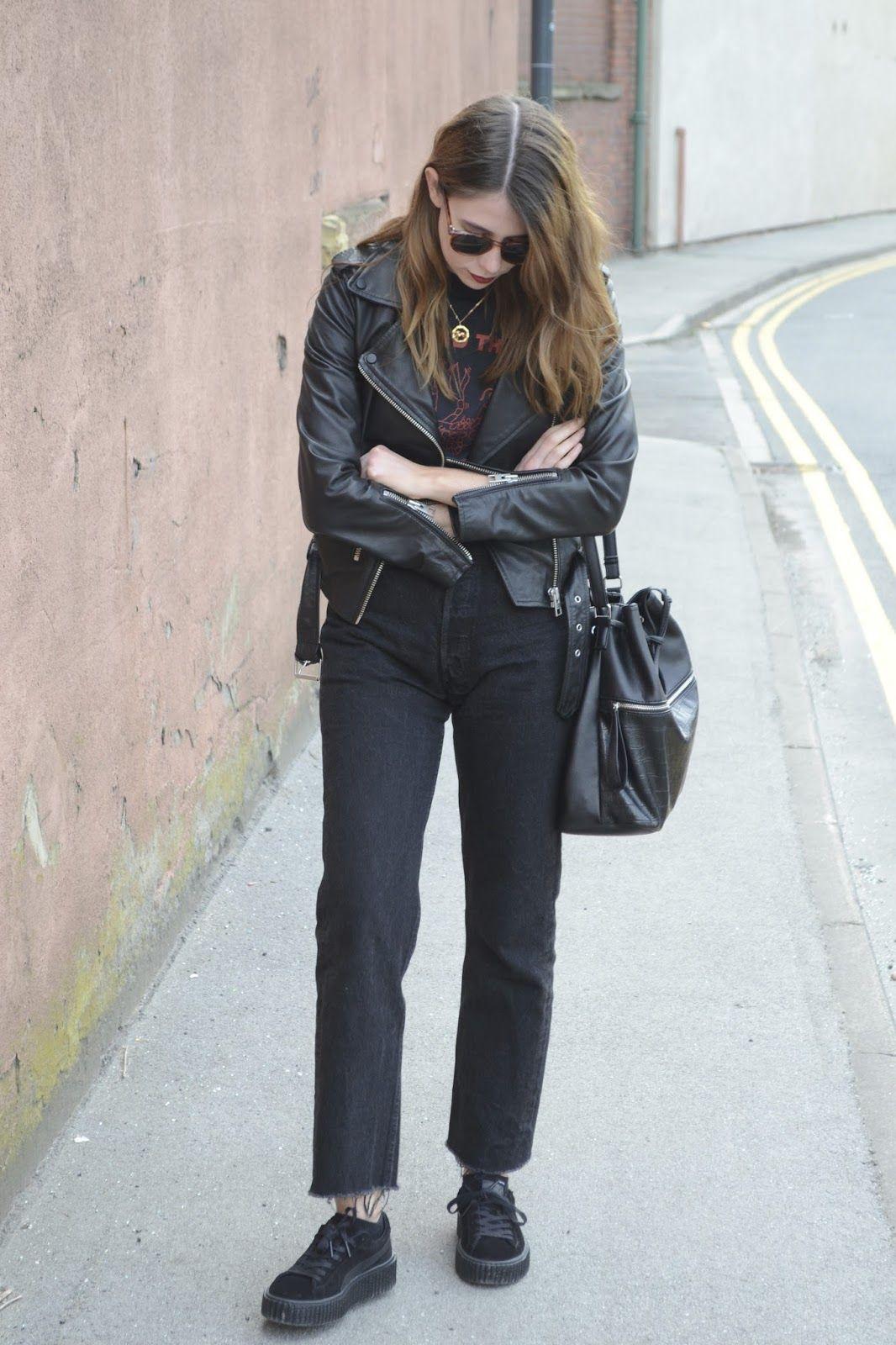 Black leather jacket Allsaints, Vintage black t-shirts, Black Levis 501, Puma x fenty by Rhianna.