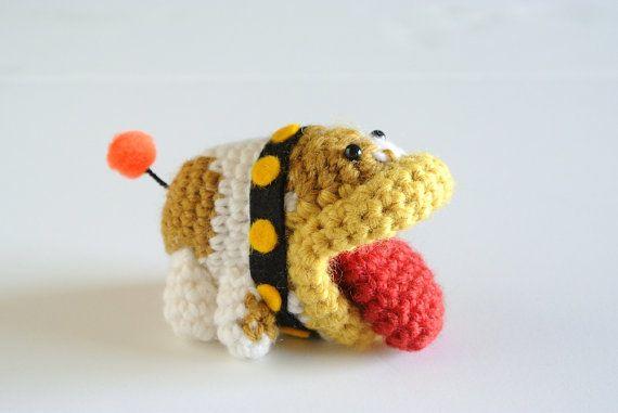 Amigurumi Yoshi Tutorial : Crochet small amigurumi magical dragon and book mark part of