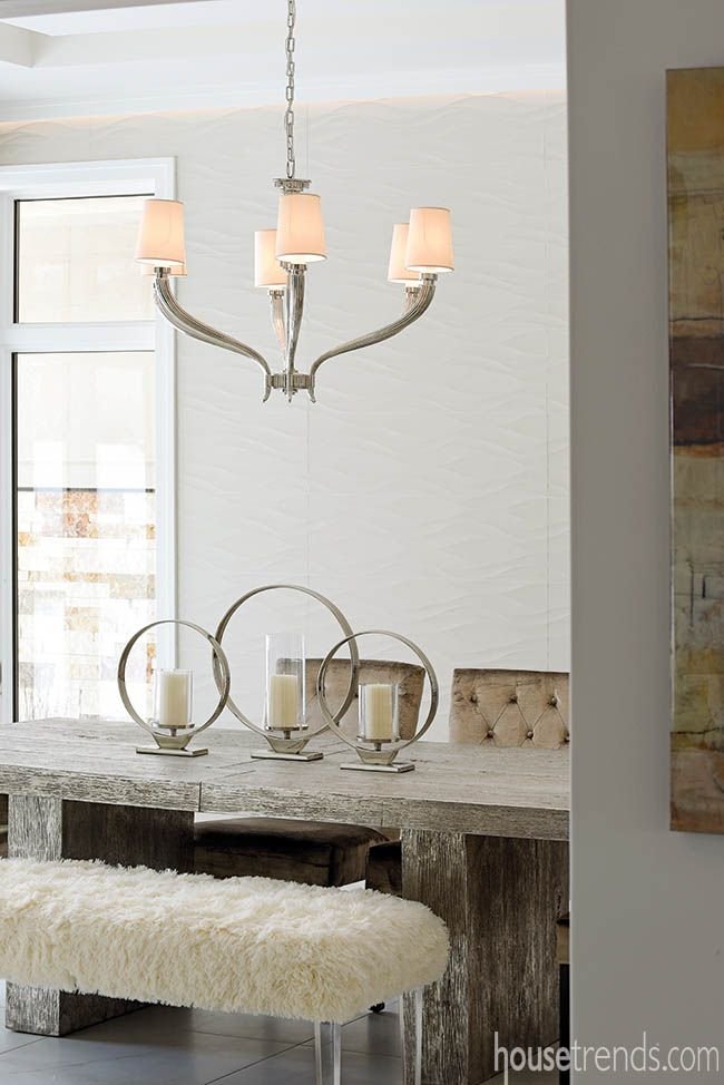 Wall tile adds texture to a formal dining room. #housetrends