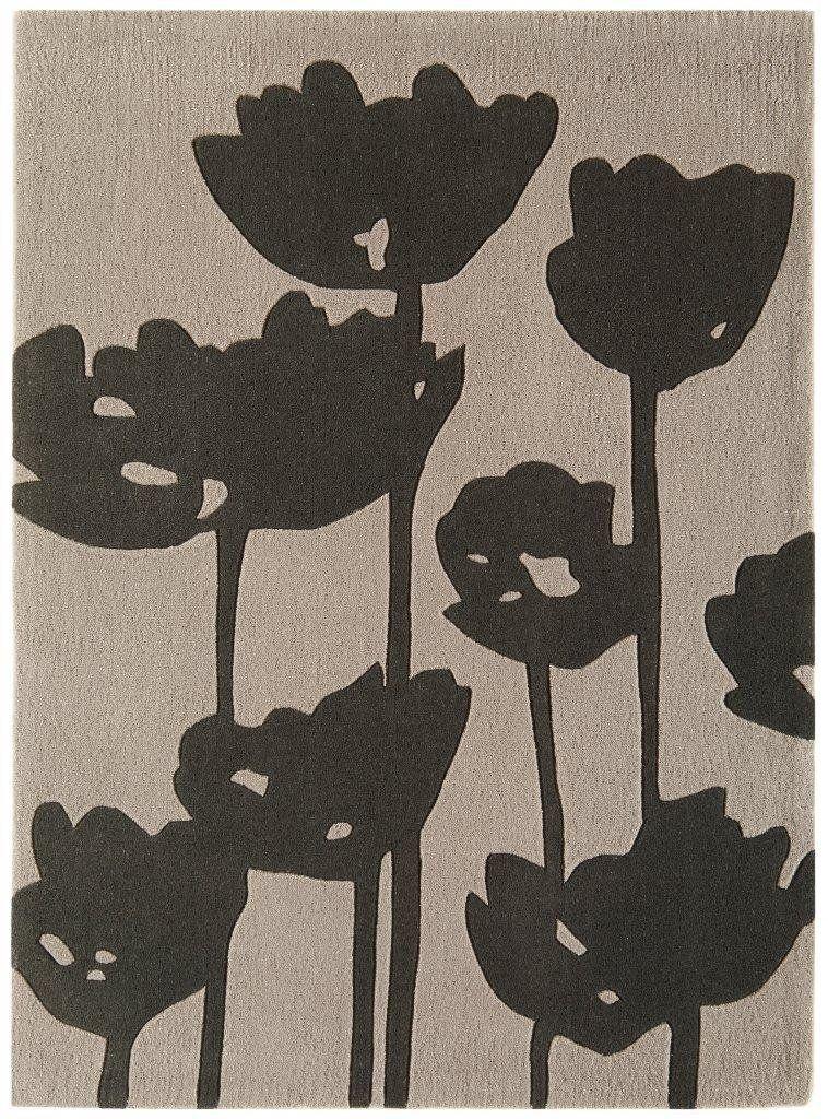 Teppich Wohnzimmer Carpet Modernes Design HARLEQUIN MOHN BLUME RUG 100%  Acryl 120x170 Cm Rechteckig Braun