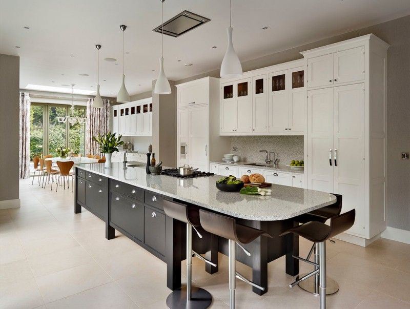 Long Grey Kitchen Island With Drawers And Seats For 4 Kitchen Island With Sink Kitchen Layout Kitchen Island Design