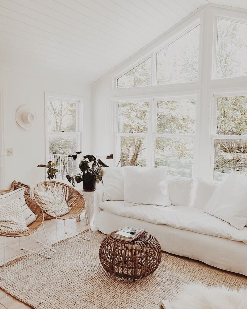 dream house all white carpet rug open window wall a frame couch ...