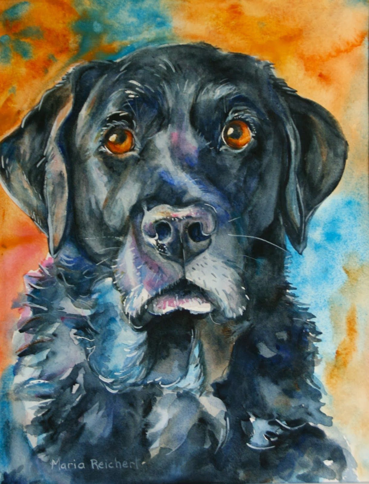 Bosco Black Lab In Watercolor Animal Paintings