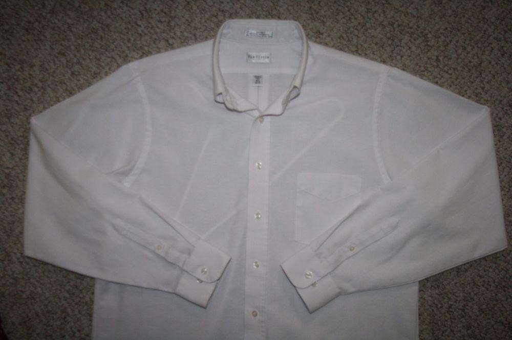Van Heusen white dress shirt 16.5 36/37 cotton polyester large mens choice men #VanHeusen