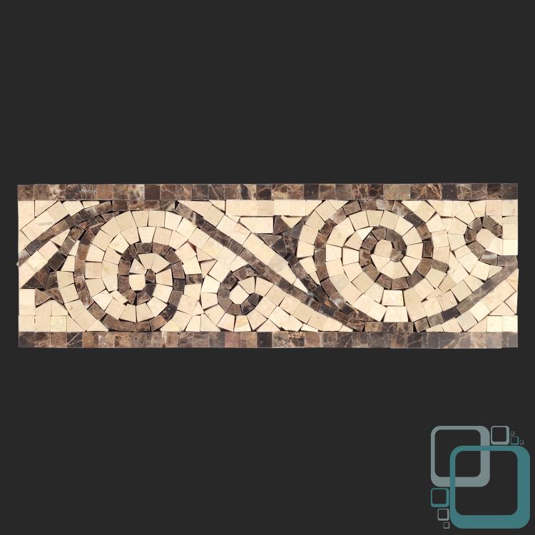 Dark Tile Master Bathroom: Crema Marfil Polished Art Border