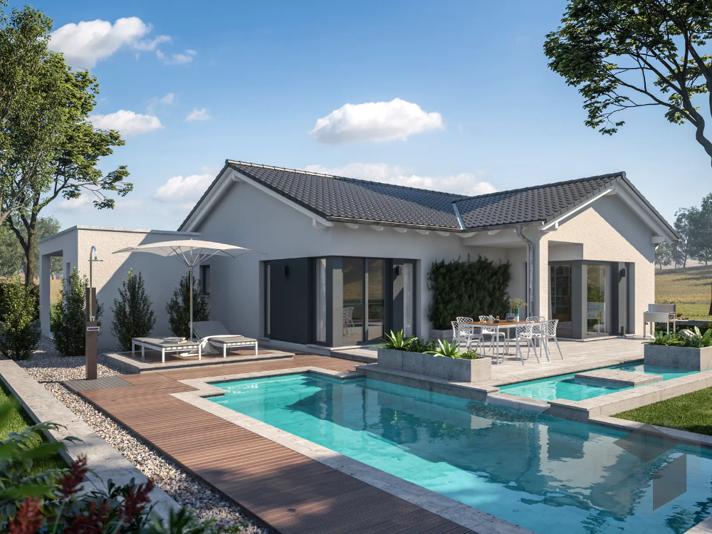 Kleines Singlehaus Mit Pool Fertighaus Bungalow Kleiner Bungalow Moderne Hausfassaden