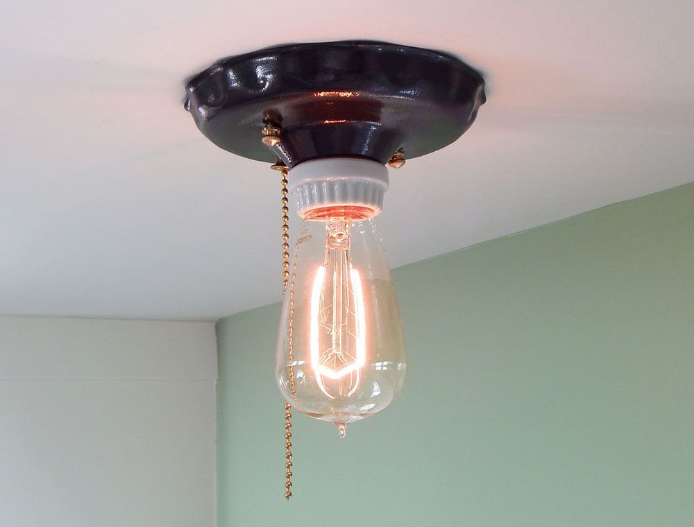 Vintage Minimalist Flush Mount Pull Chain Ceiling Light Sold