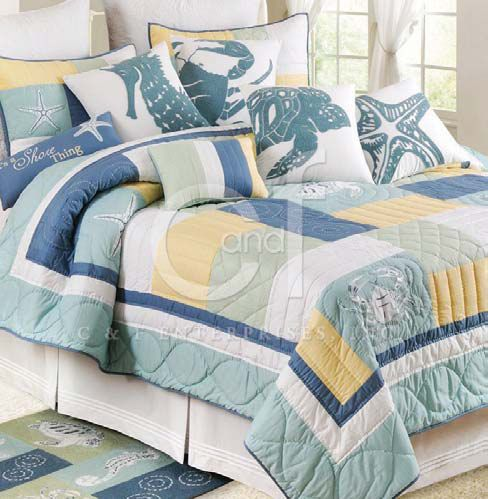 Beach Themed Quilts Waters Edge Queen Quilt Beach Bedding Beach Quilt Nautical Quilt Beach Bedding Sets Bed Decor Bedding Sets