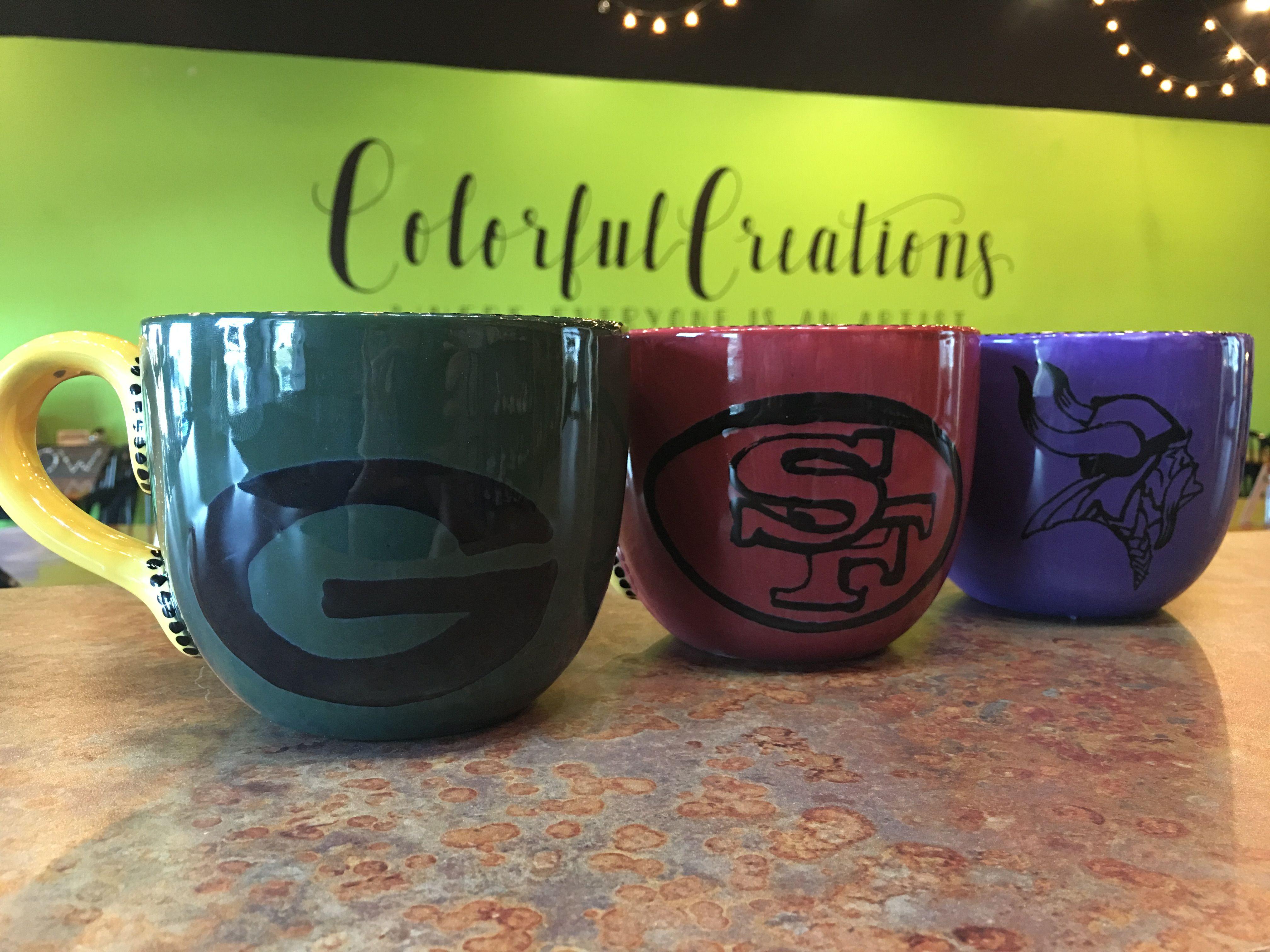 Football Mugs Green Bay Packers Mug San Francisco 49ers Mug Minnesota Vikings Mug Ceramics Painted Pottery Mug Tr Pottery Painting Handmade Paint Pottery