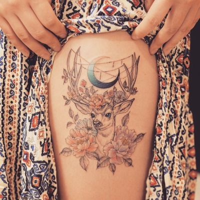 Deer And Moon Tattoo Wicca Tattoo Pagan Tattoo Antler Tattoos