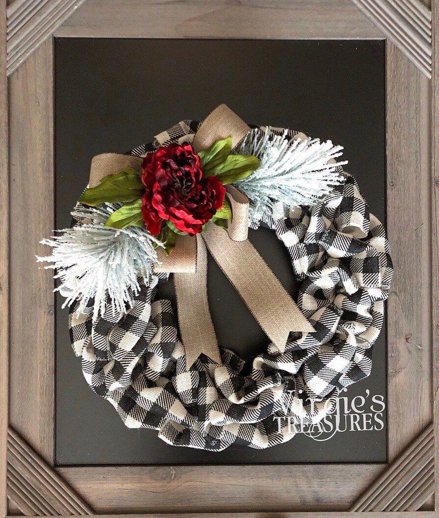 Photo of Buffalo Plaid Wreath, Hydrangea Wreath, Front Door Wreath, Fall Wreath, Buffalo Check Wreath, Farmhouse Wreath, Christmas Wreath