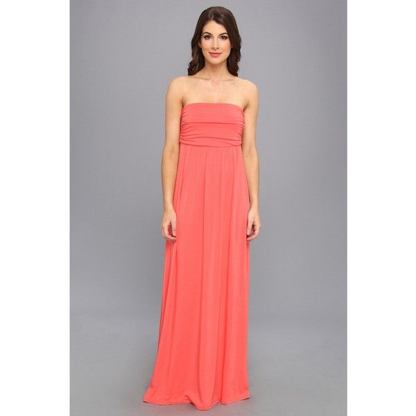 Gabriella Rocha Hally-Petite Women's Dress, Coral ($26) ❤ liked on Polyvore featuring dresses, coral, empire waist dress, rouched dress, empire waist maxi dress, stretch dress and ruching dress