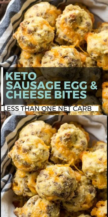 These Sausage Egg and Cheese Bites are the perfect low carb, grab and go, Keto friendly breakfast option! Perfect for an easy meal prep breakfast! #keto #lowcarb #mealprep #ketobreakfast