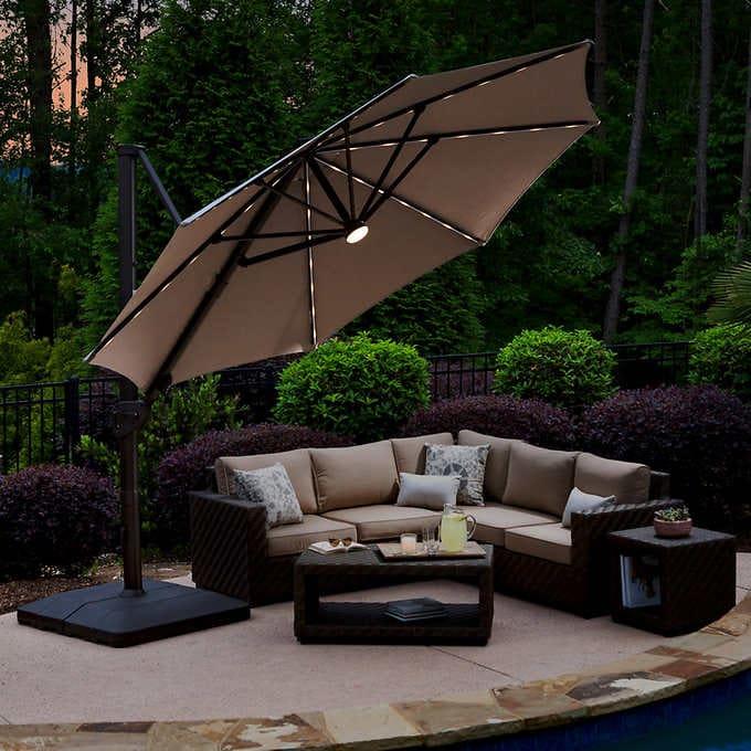 11 Led Solar Round Cantilever Umbrella In 2020 Outdoor Pergola Backyard Patio Outdoor Patio Umbrellas