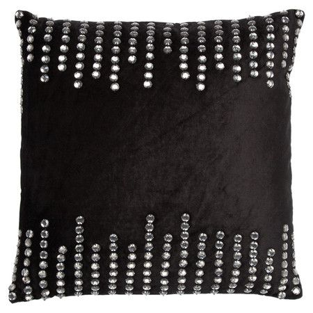 Black velvet pillow with jewel-inspired accents.  Product: PillowConstruction Material: VelvetColor:...