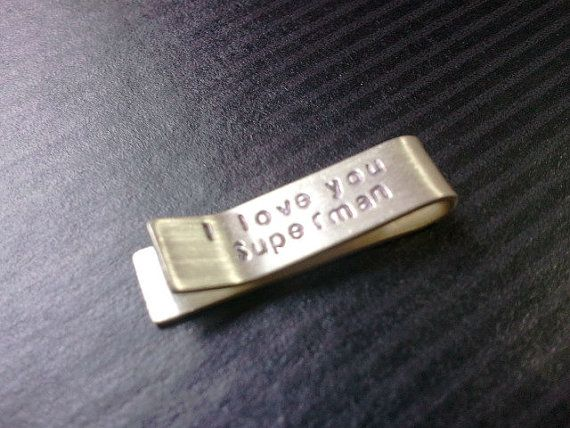1 i n c h  Sterling Silver Tie Bar  I love you by purelypaige, $20.00