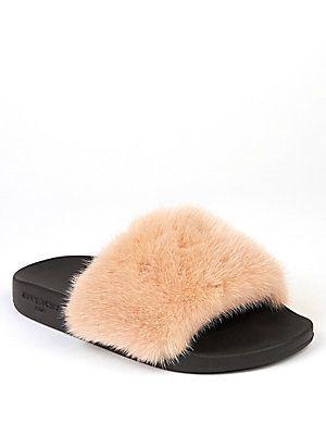 7be6d4d35513 Givenchy Mink Fur   Rubber Slides