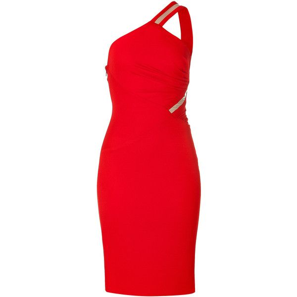 VERSACE Bright Red One-Shoulder Draped Dress
