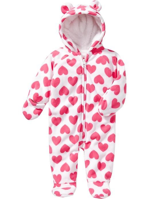 Hearts Hooded One Piece For Baby