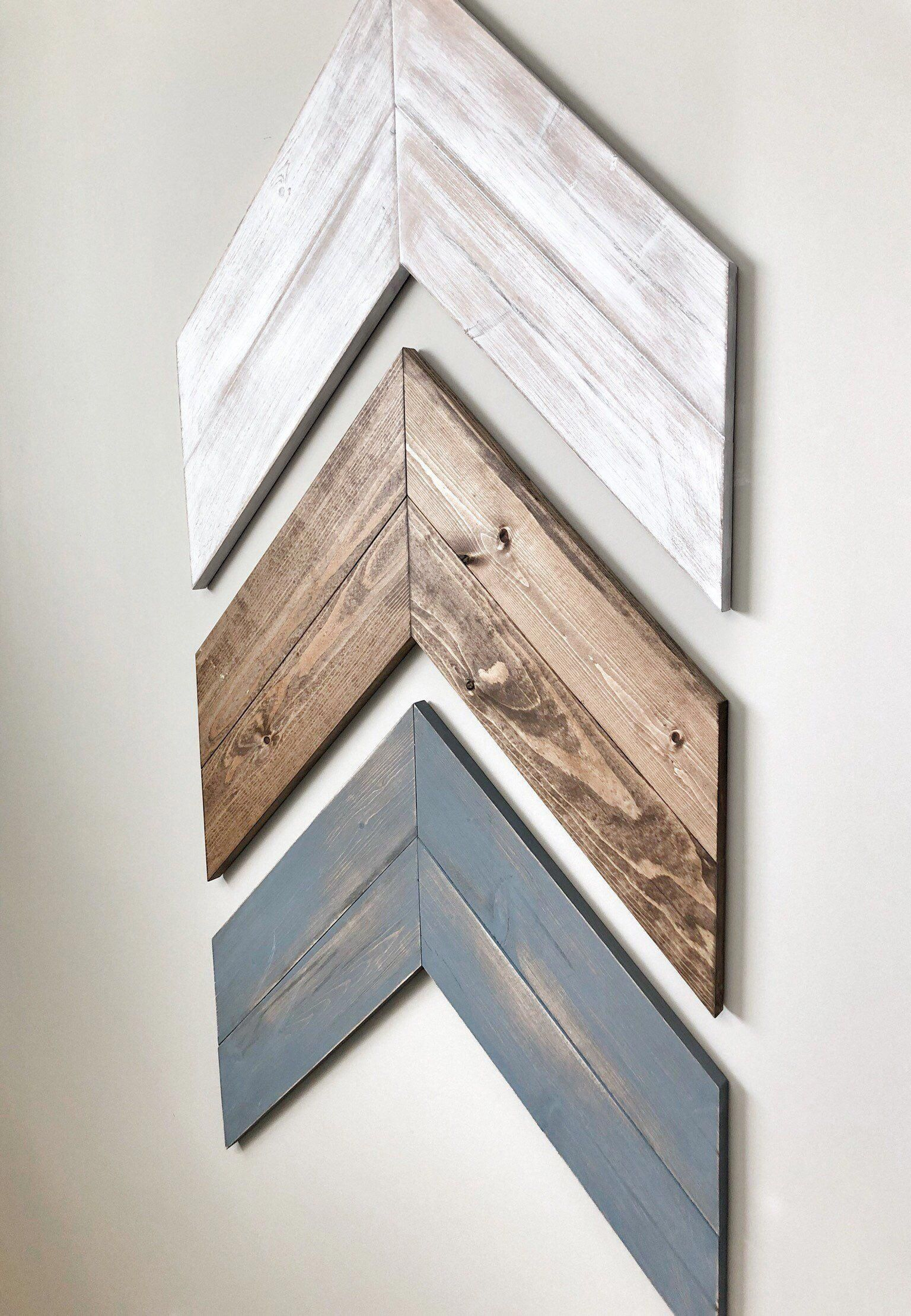 Set of 3 Large Reclaimed Wood Chevron Arrows Huge Chevron   Etsy