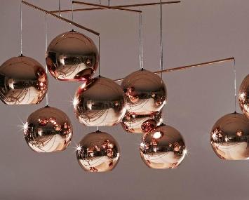 Rose Gold Light Copper Lighting Glass Ball Pendant Lighting