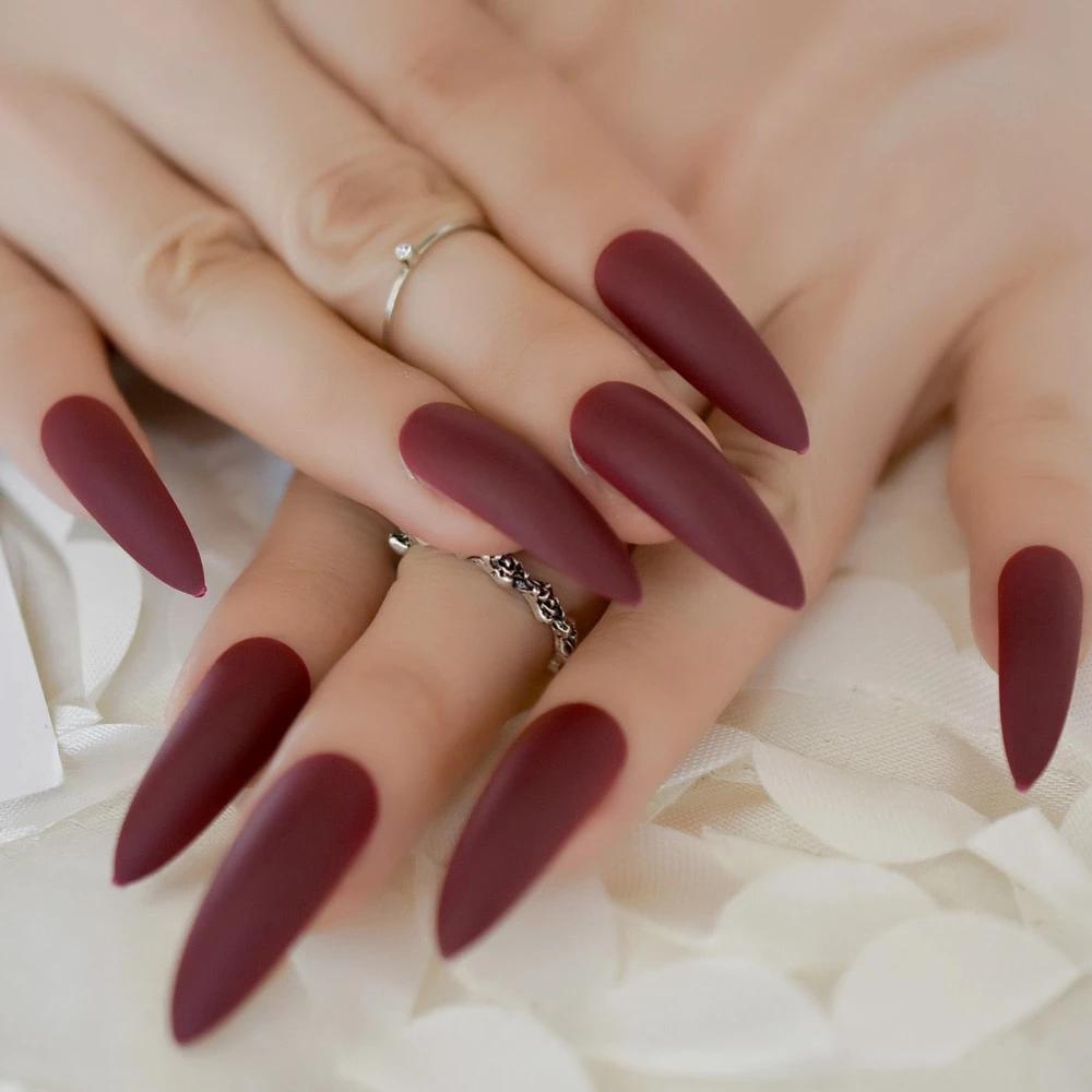 Extra Long Matte Red Press On Nails Press On Nails Long Stiletto Nails Fake Nails