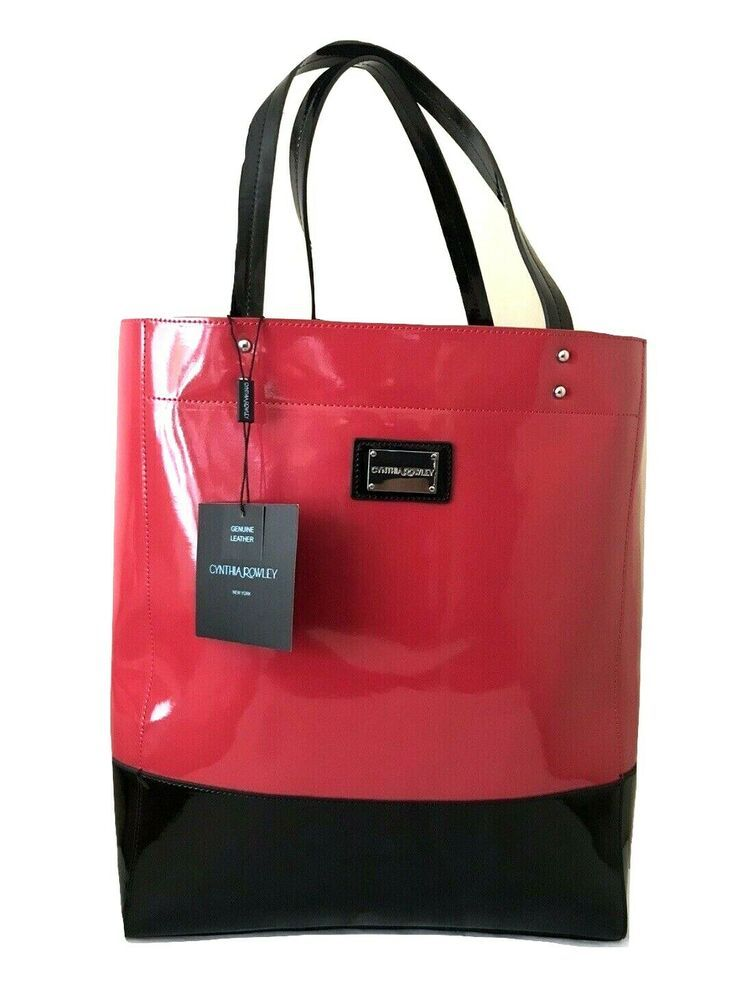 Cynthia Rowley Red Black Leather Pers Tote Bag Purse