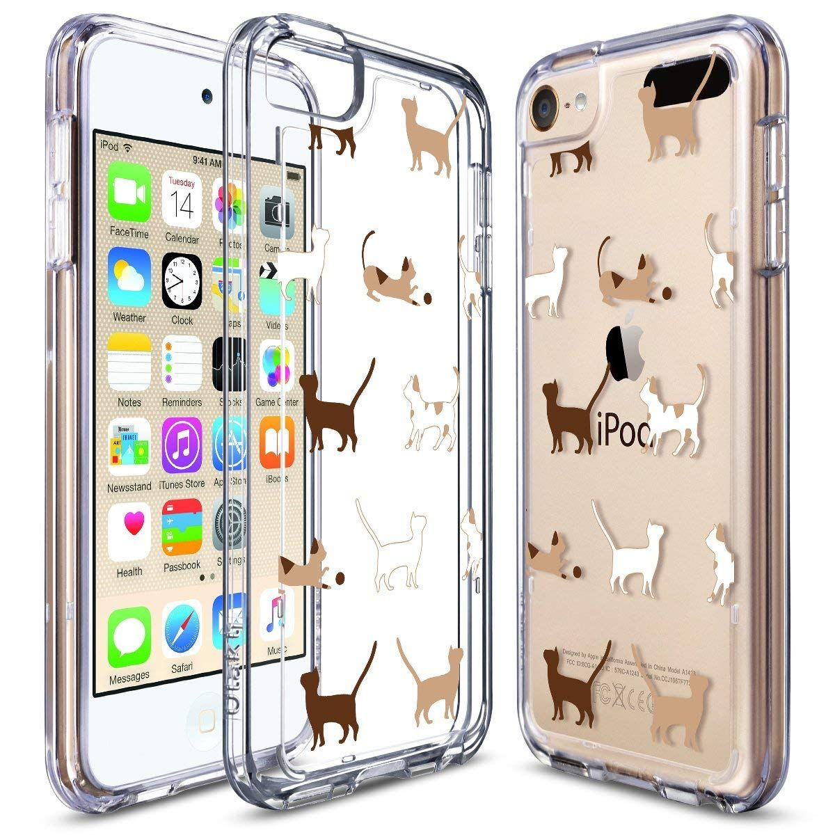 ULAK iPod Touch 5 Case iPod 6 Case Clear Slim Soft TPU Bumper PC Back Hybrid Case Cover for iPod Touch 5 /& 6 Clear