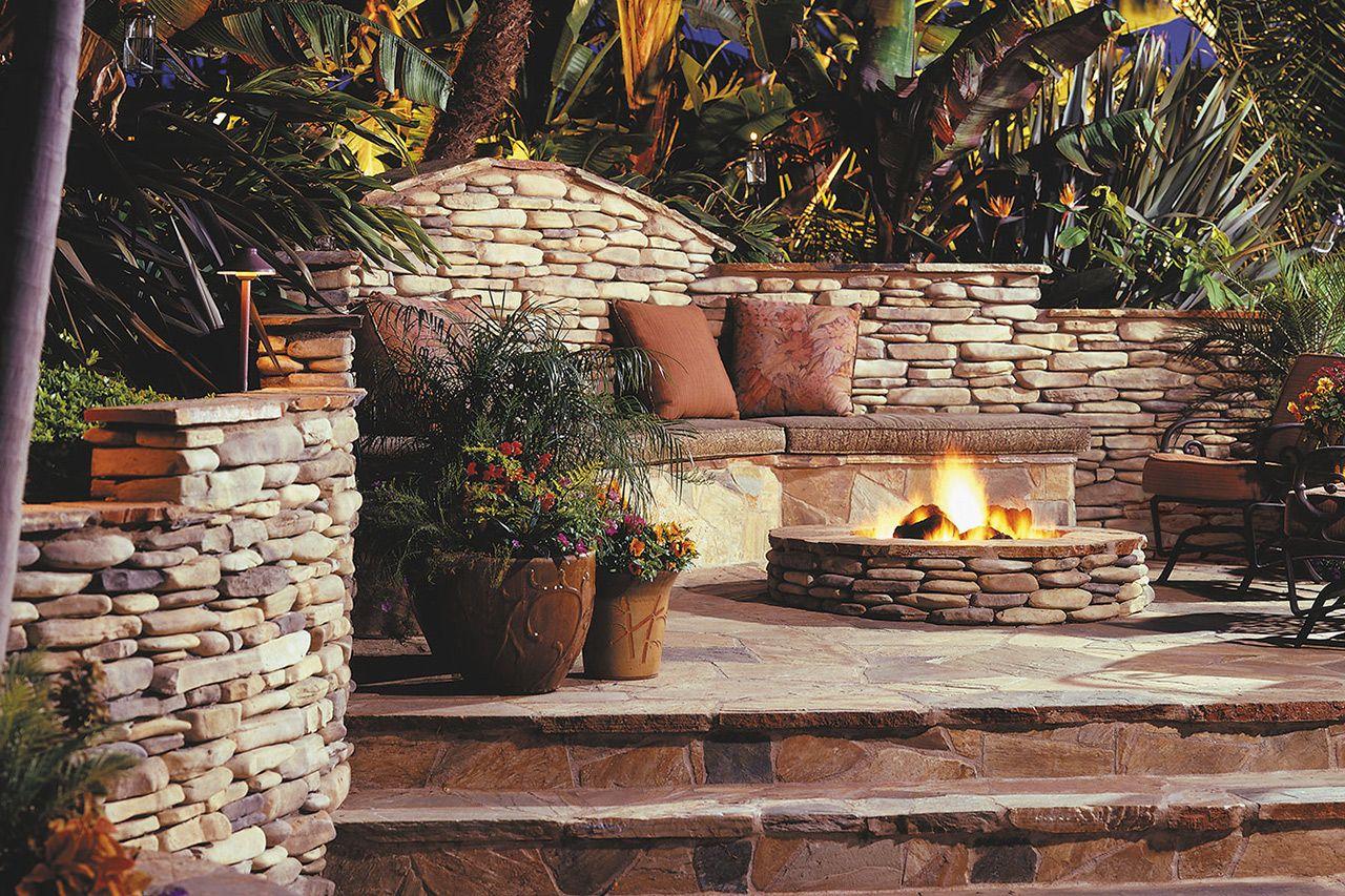 Eldorado stone kittredge gas burning fire pit new house