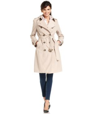 London Fog Petite Coat, Double-Breasted Belted Trench