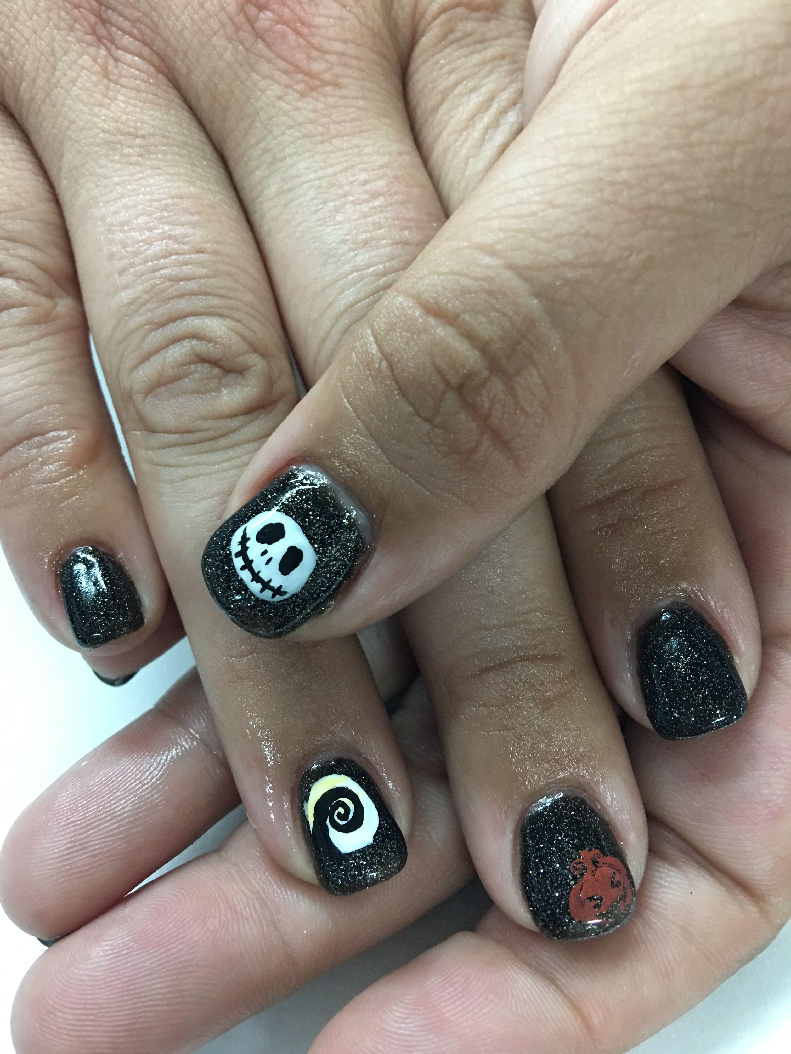 Halloween sparkle Black Hand Painted Jack Skellington Halloween Gel ...