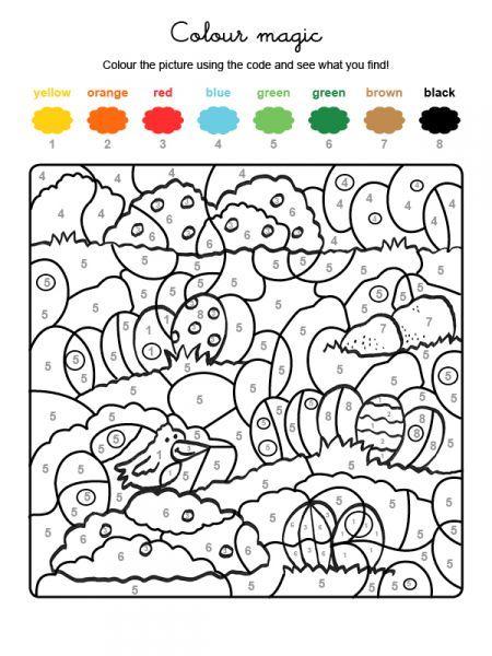 Colour By Numbers La Chasse Aux Oeufs De Paques Coloriage