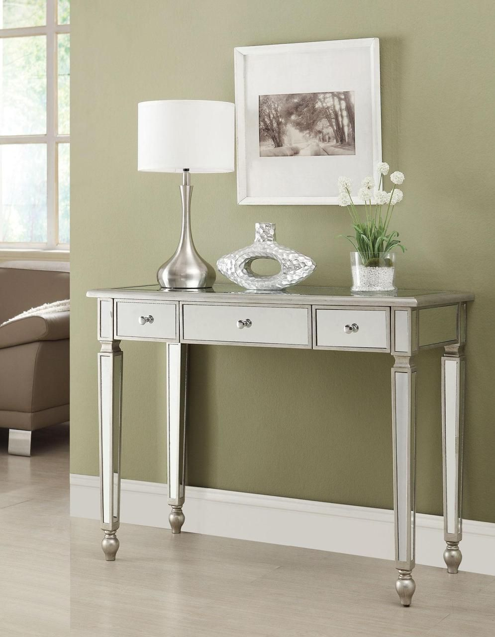 Zephyr Antique Silver Mirrored Makeup Vanity Desk Mirrored Sofa