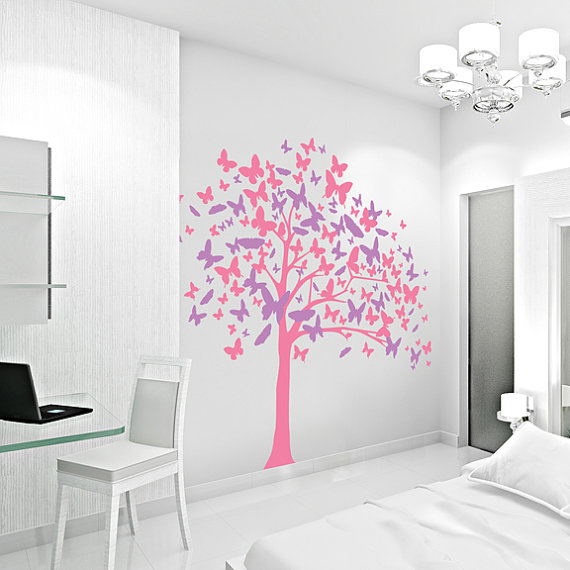 Butterfly Tree Vinyl Decal StickerTree Wall Sticker Nature Wall - Vinyl wall decals butterflies